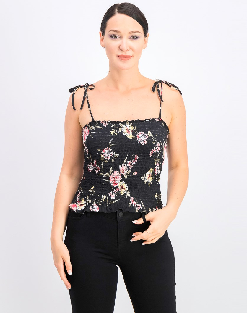 Women's Juniors' Floral Smocked Tank Top, Black Combo