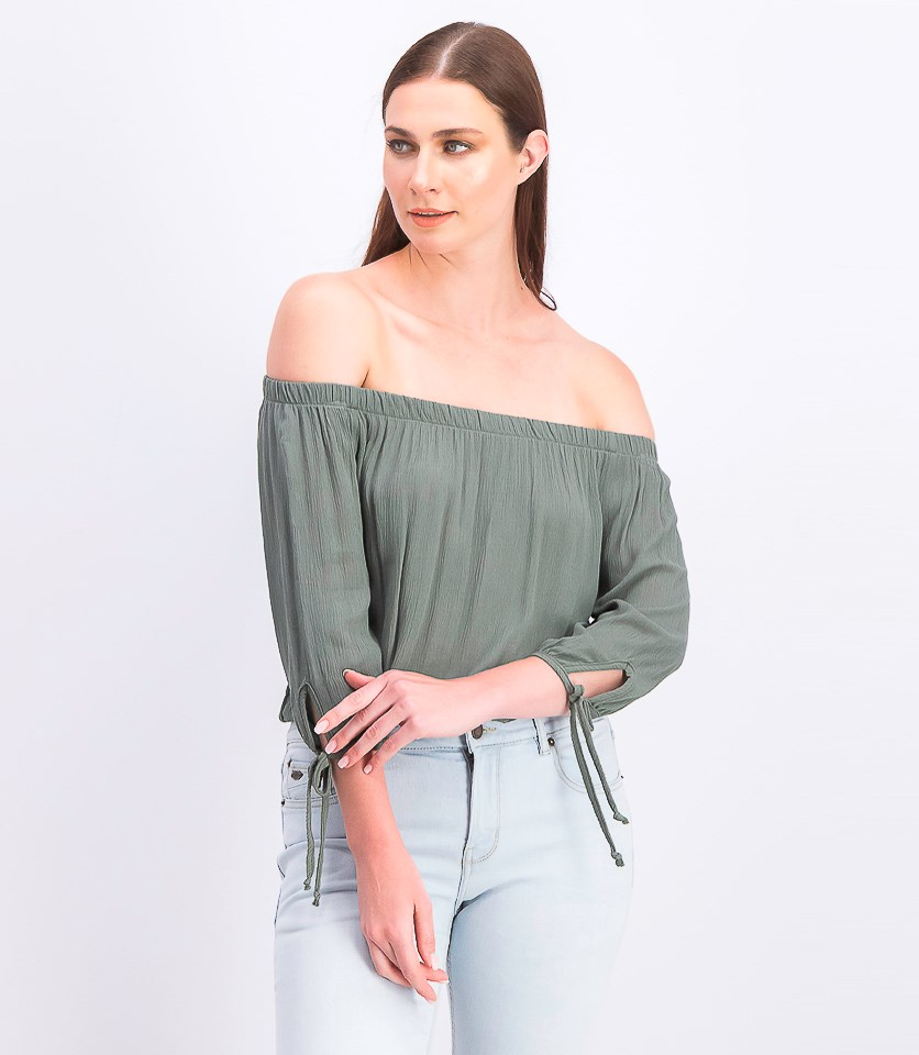 Juniors' Off-the-Shoulder Tie-Sleeve Crop Top, Olive