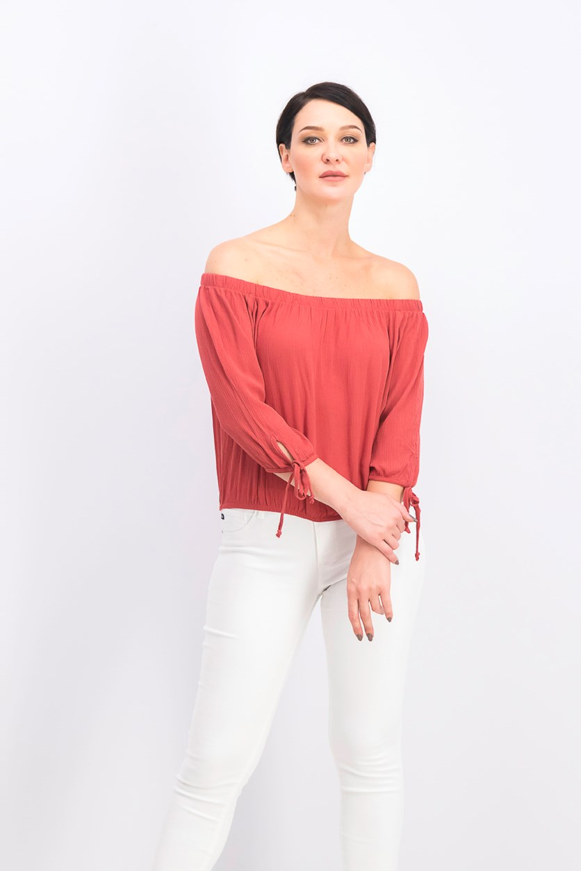 Juniors' Off-the-Shoulder Tie-Sleeve Crop Top, Rust