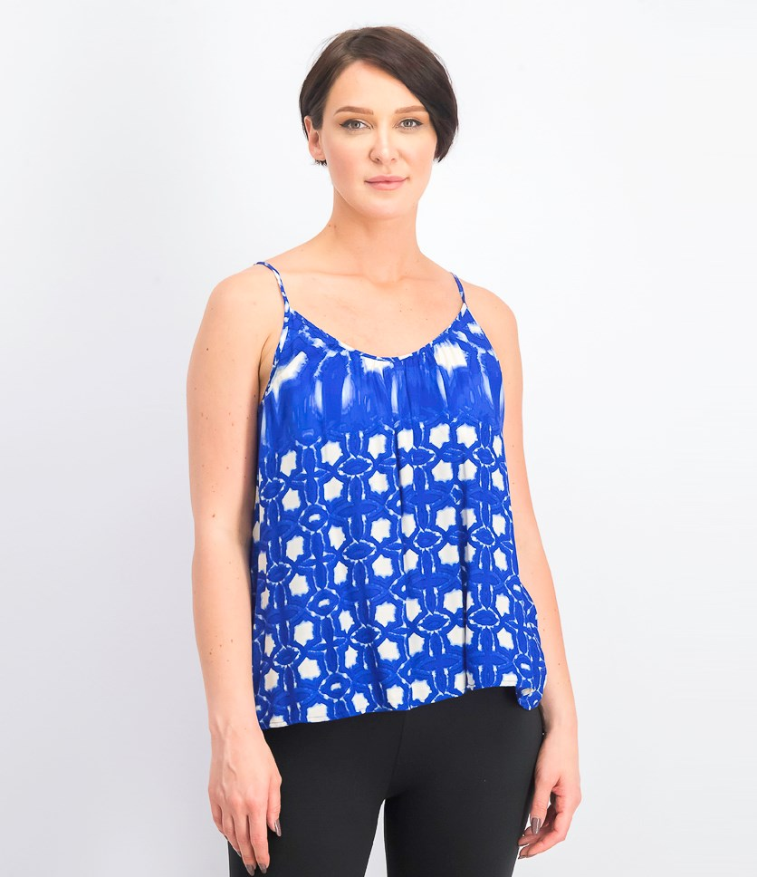 Women's Sleeveless Atlantis Print Cami Top, Blue/White