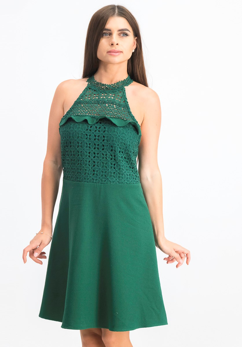 Women's Lace-Neck Fit & Flare Dress, Green