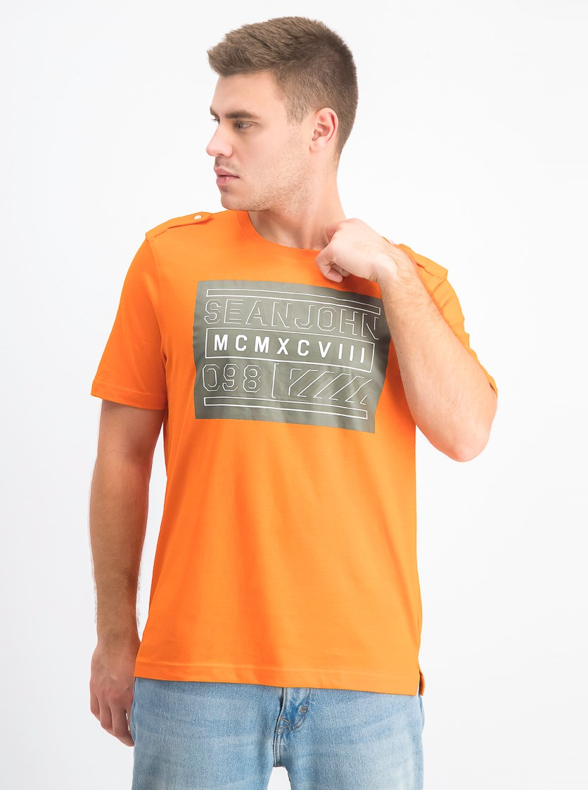 Men's Graphic Flight Tee, Red Orange
