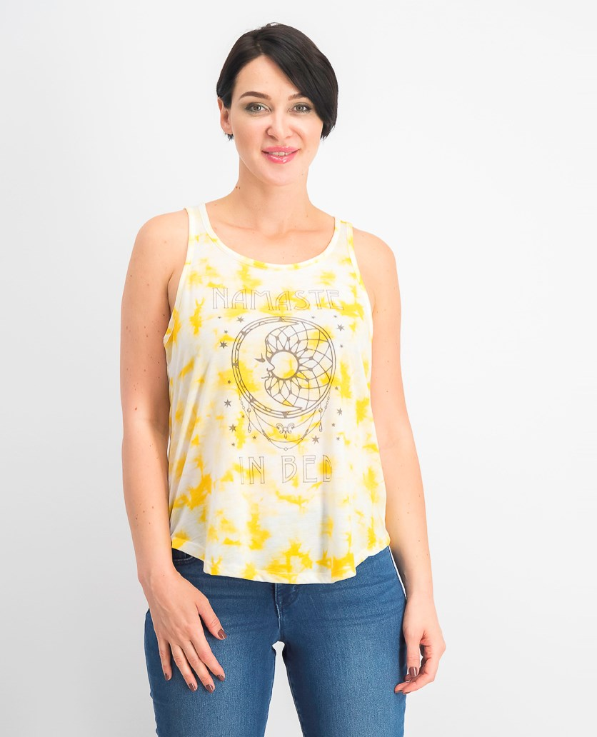 Juniors' Namaste In Bed Tie-Dye Tank Top, Mustard