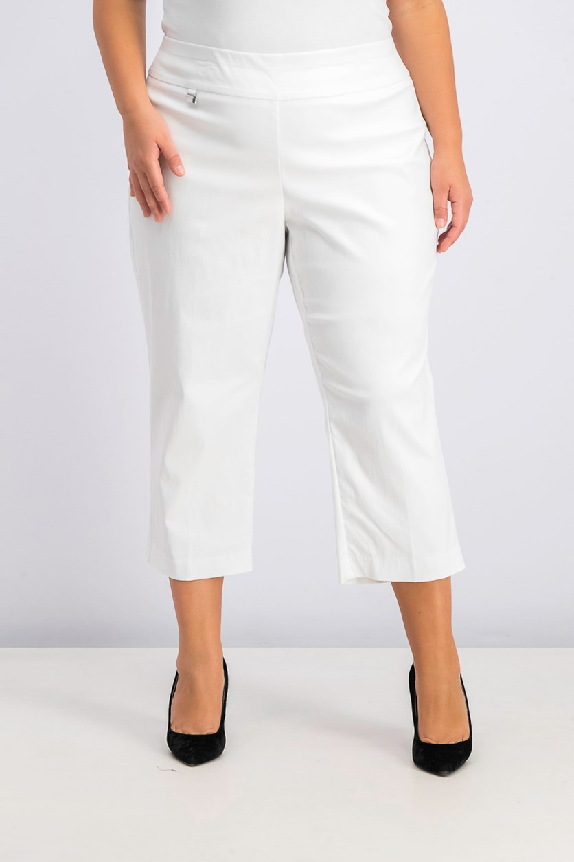 Women's Plus Size Tummy-Control Capri Pants, Bright White