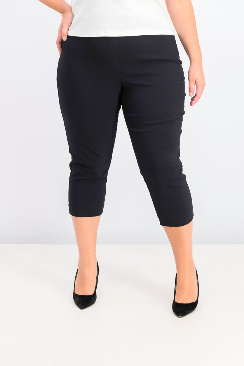 Women's Plus Size Capri Pants, Deep Black