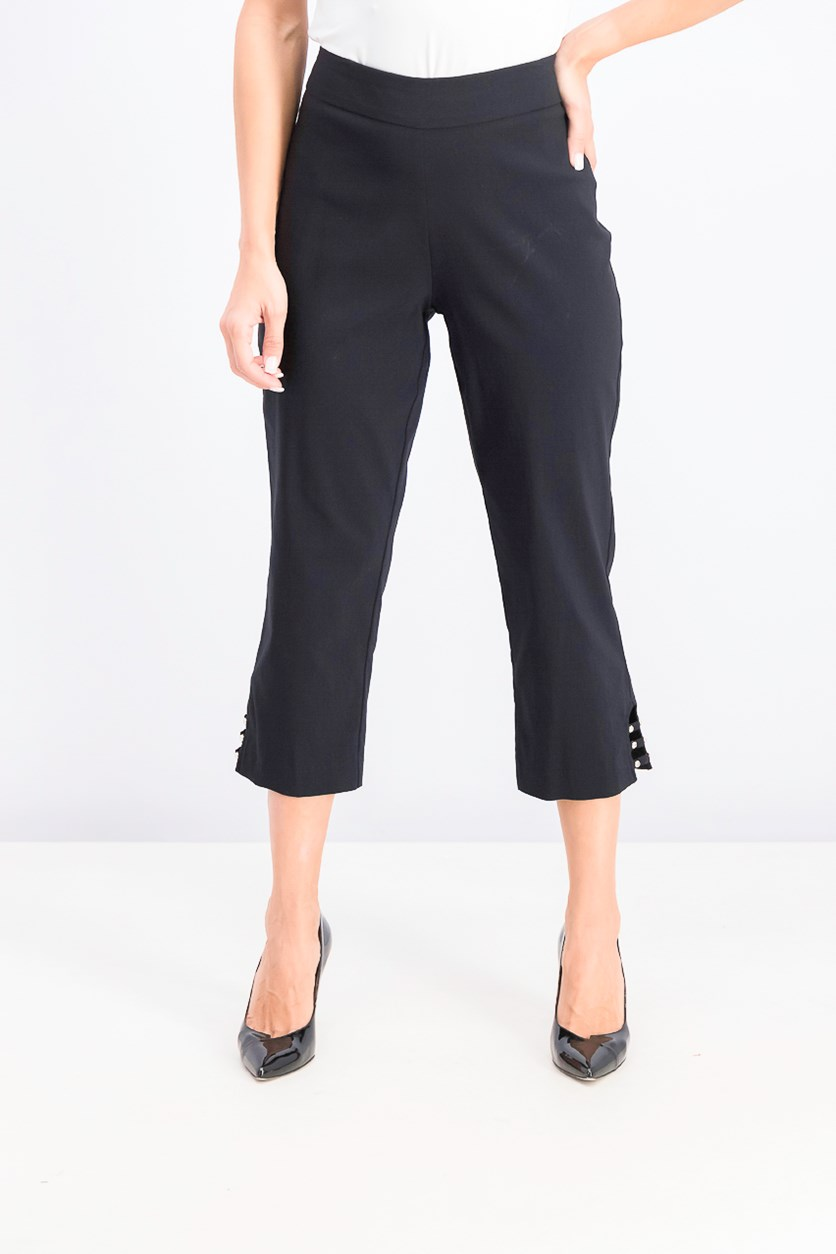 Women's Pull-On Lattice-Inset Capri Pants, Black