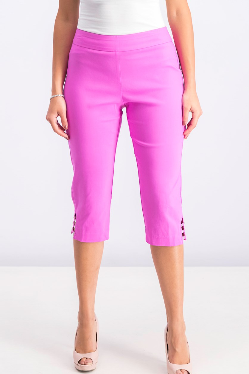 Petite Lattice-Hem Capri Pants, Peony Bloom