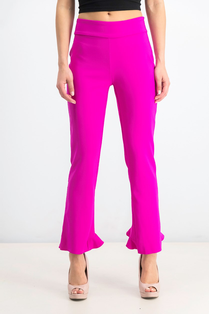 Women's Ruffled-Hem Ankle Skinny Pants, Magenta Flame