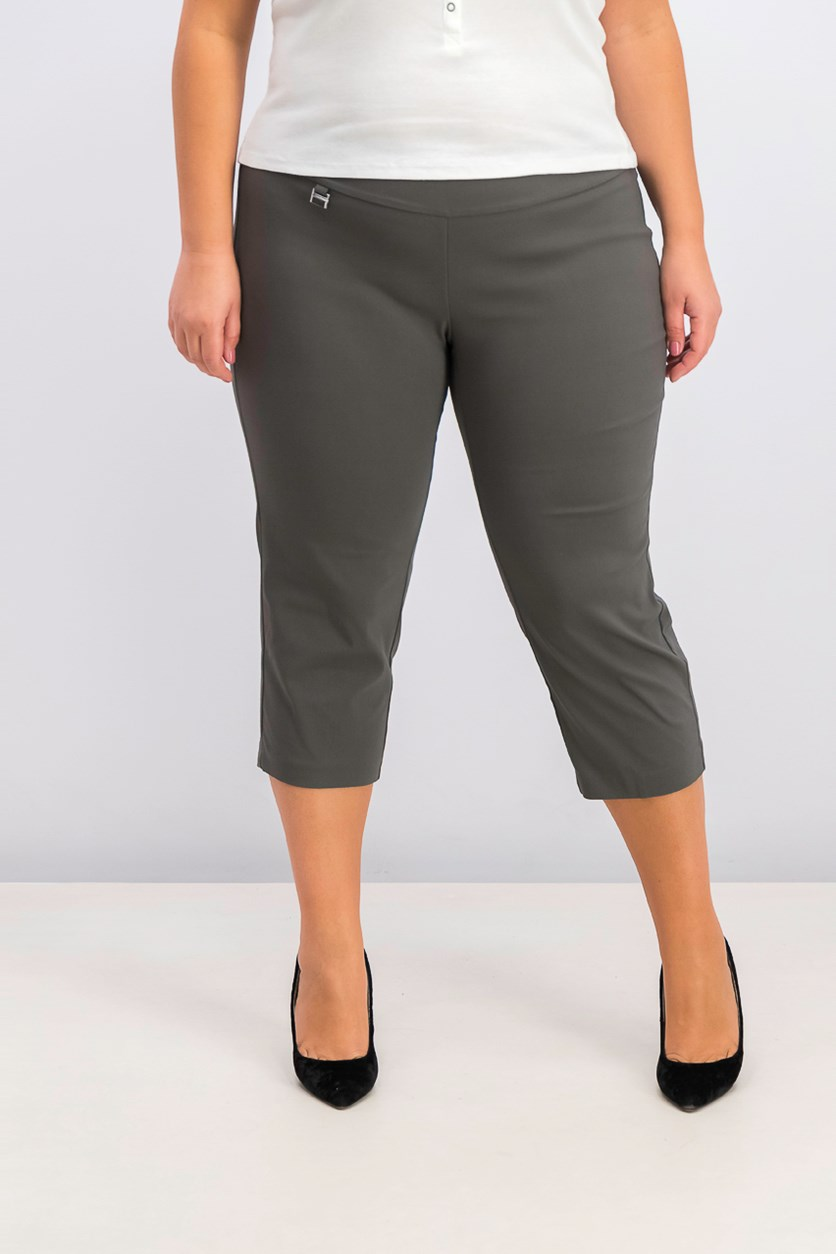 Petite Plus Size Pull-On Capri Pants, Urban Olive