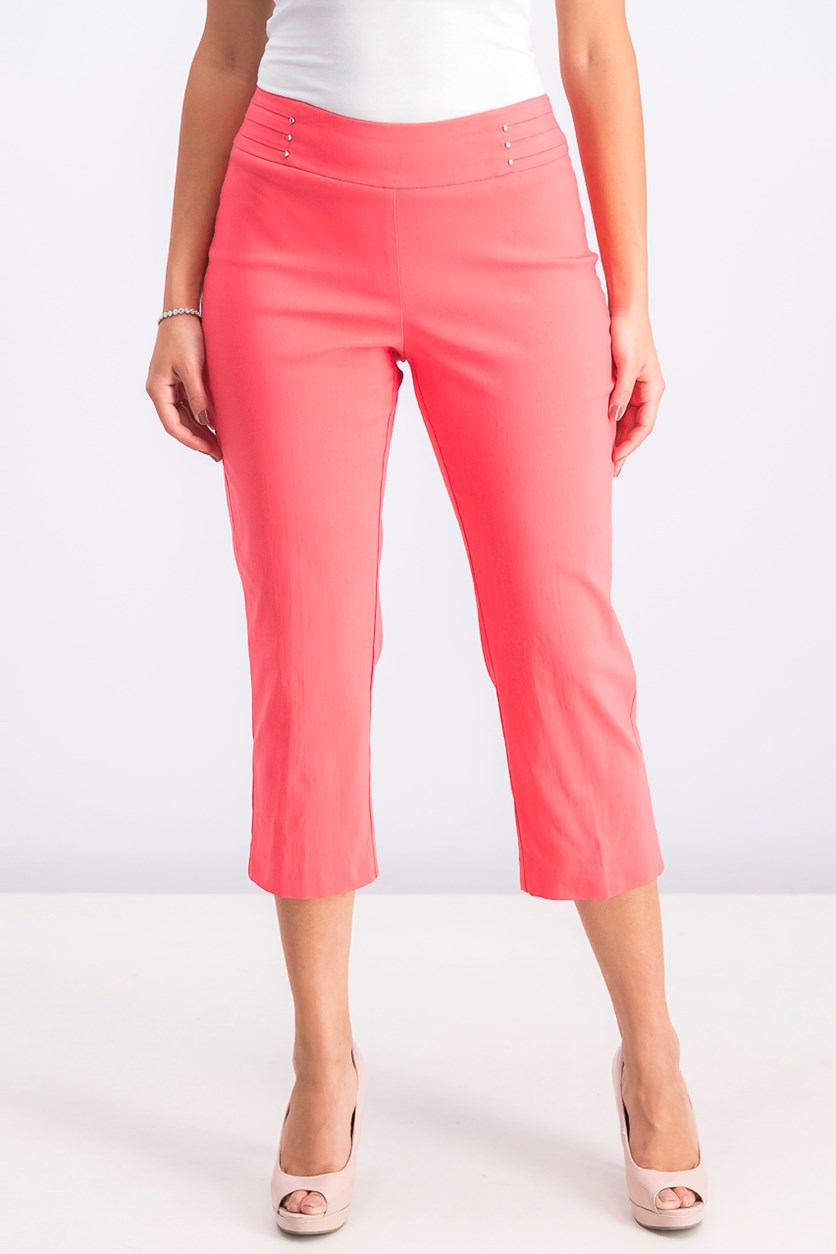 Women's Embellished Pull-on Capri Pants, Coral Tile