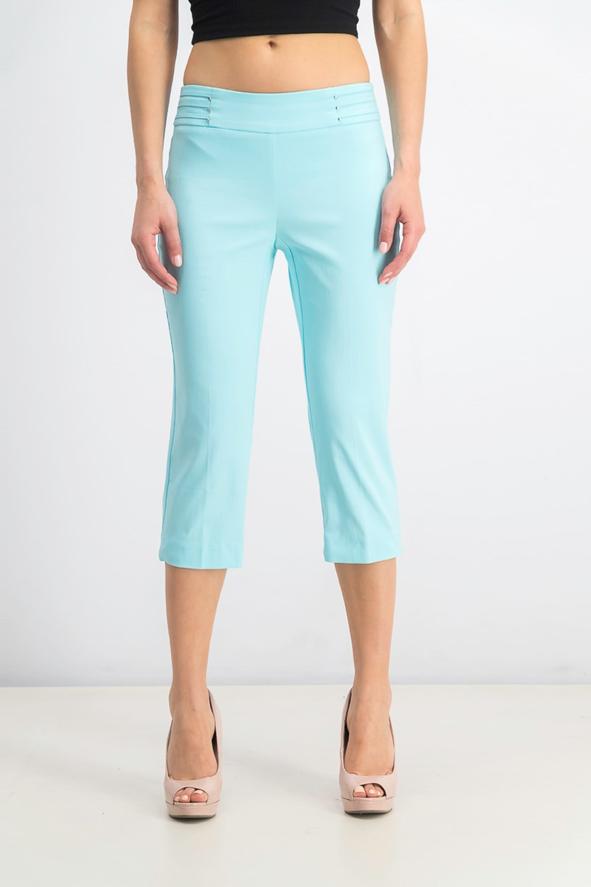 Women's Petite Rivet-Detail Tummy Control Capri Pants, Aqua Flash