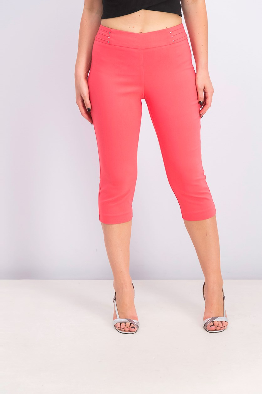 Women's Petite Rivet-Detail Tummy Control Capri Pants, Coral Tile