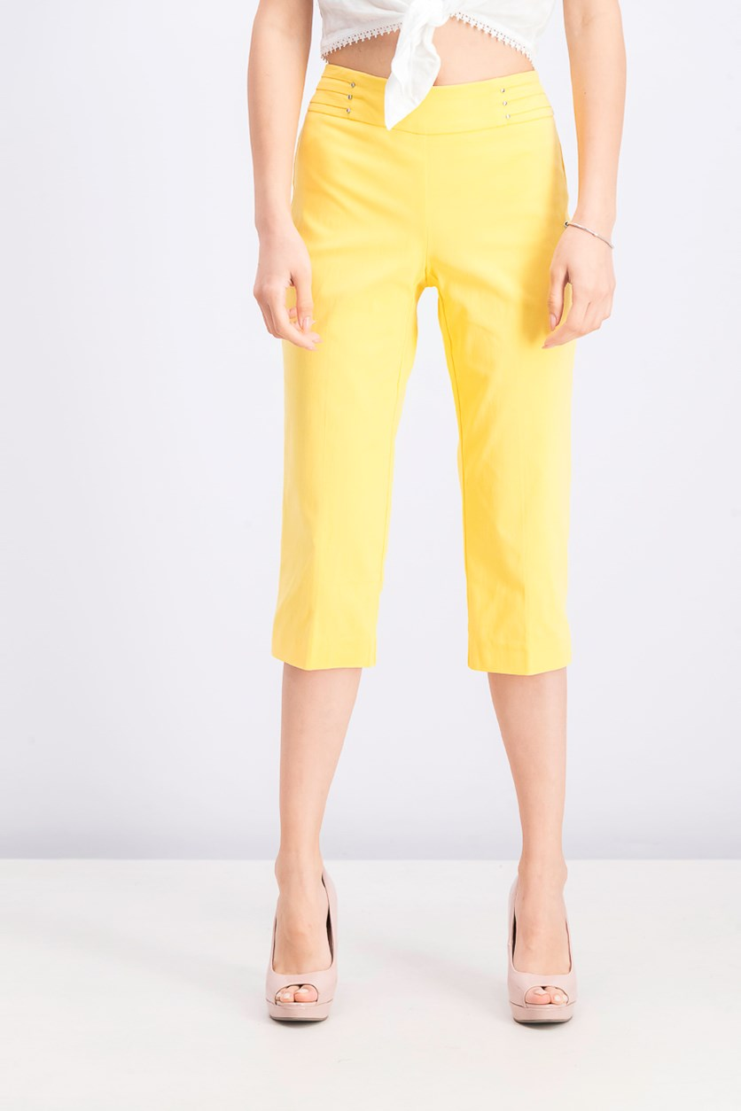 Women's Petite Rivet-Detail Tummy Control Capri Pants, Lemon Frost