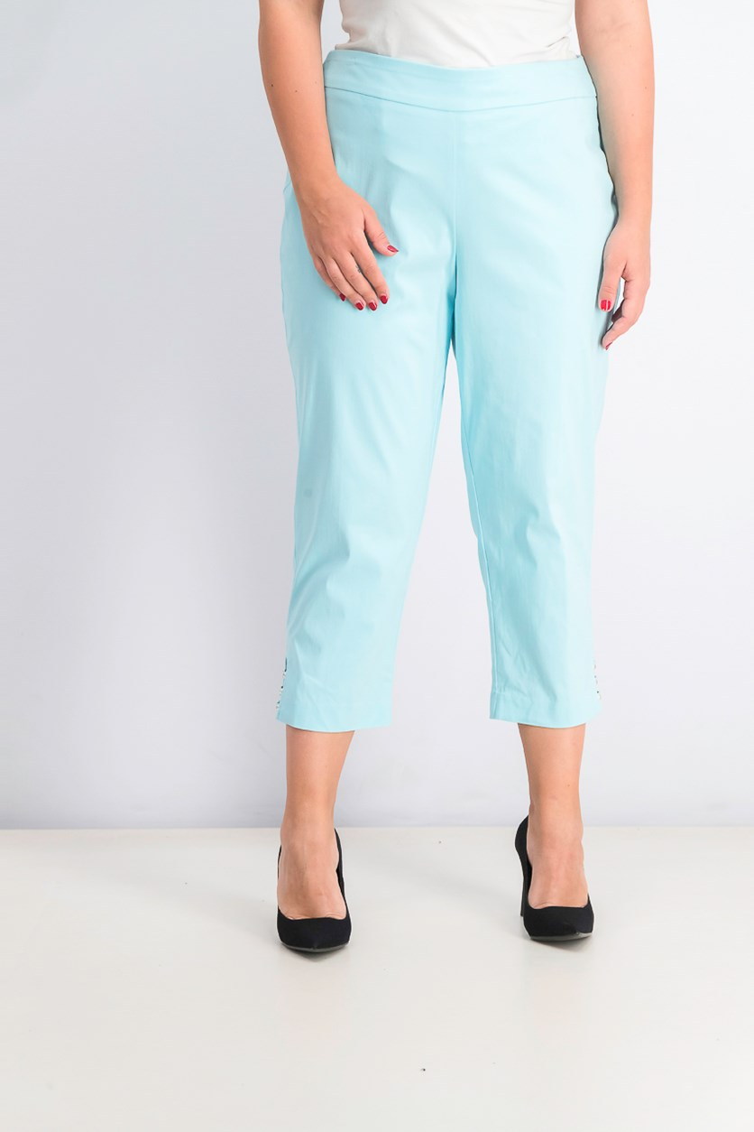 Women's Pull-on Lattice-Inset Capri Pants, Aqua Flash