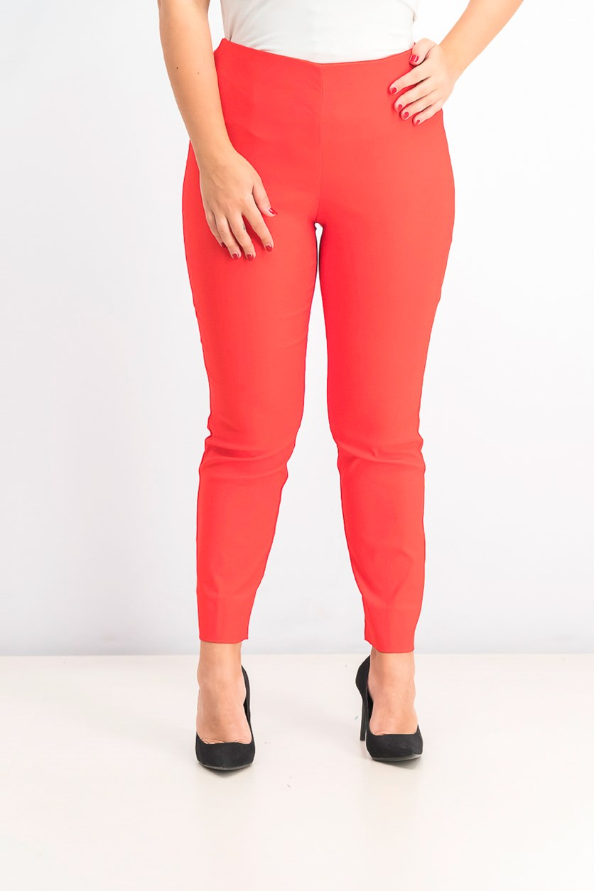 Chelsea Tummy Control Skinny-Leg Ankle Pants, Risky Red