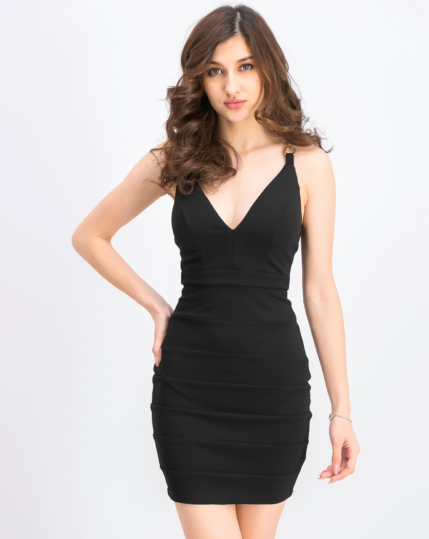 Juniors' Ruched Bodycon Dress, Black