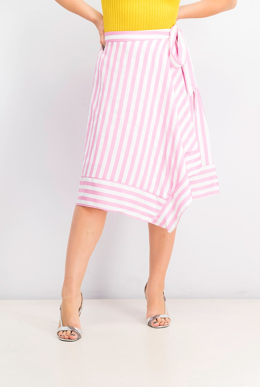 Women's Teagan Striped Wrap Skirt, Pink/White