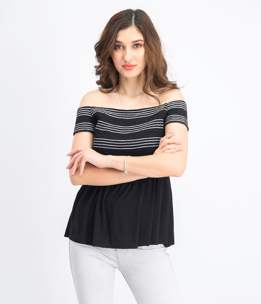 Women's Metabolic Off-the-shoulder Top, Black/White