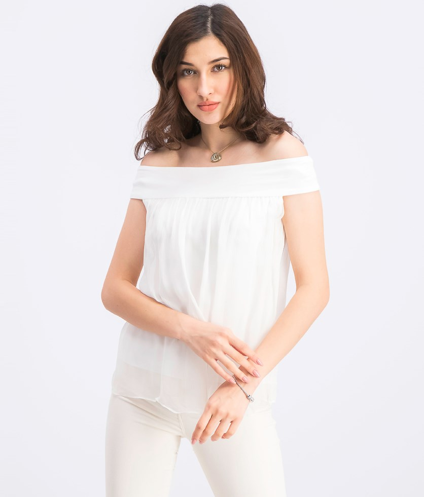 Women's Tizhit Silk Off-The-Shoulder Blouse, White