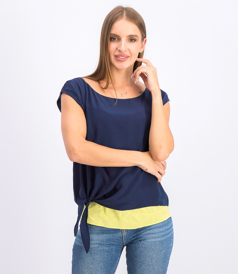 Women's Tie Hem Pullover Tops, Blue