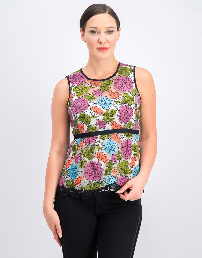 Women's Sleeveless Embroidered Peplum Top, Black/Green/Purple