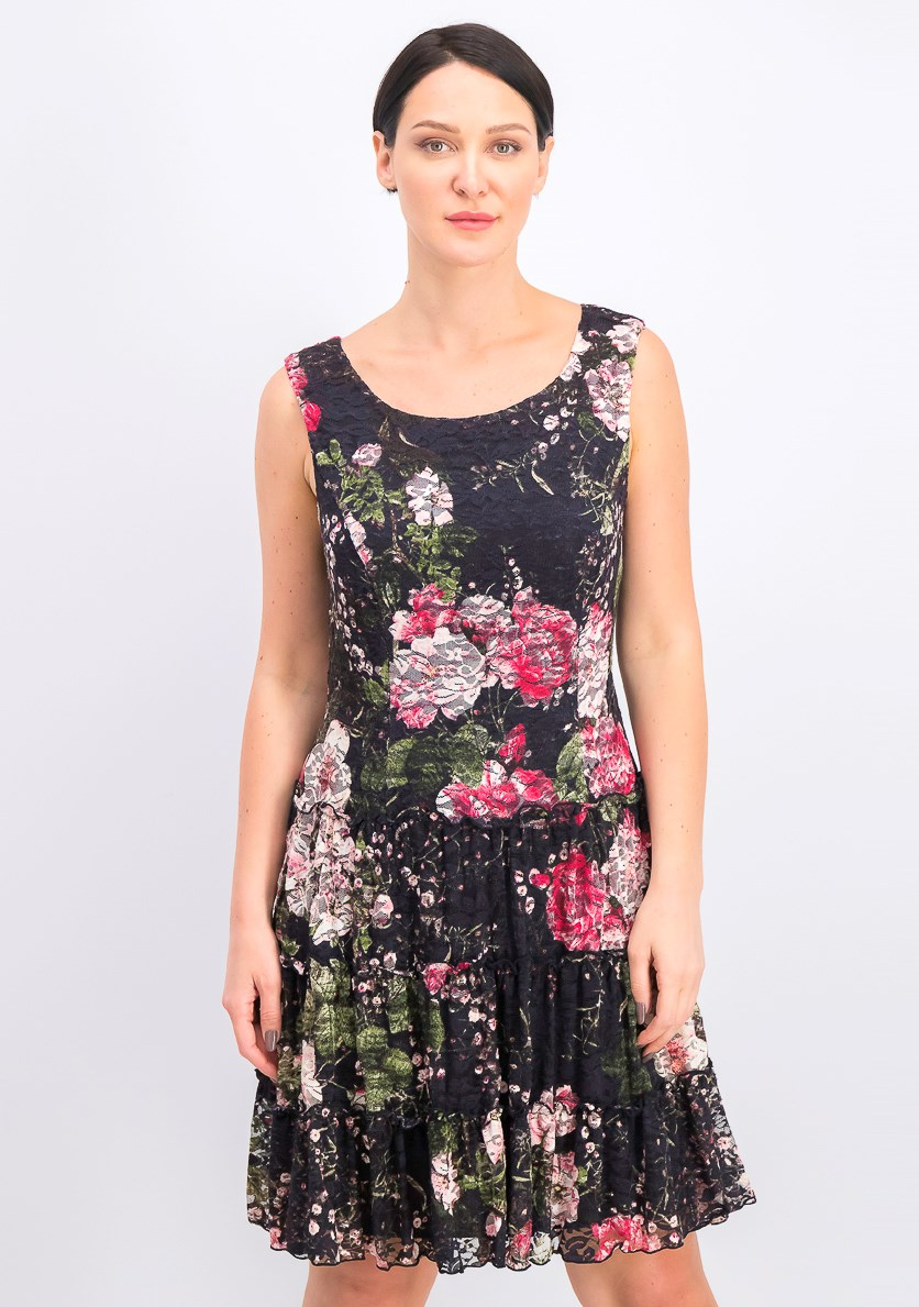 Women's Floral-Print Lace Fit & Flare Dress, Rosewood