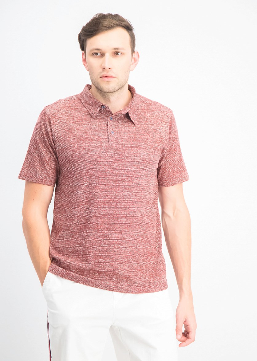Men's Textured Polo Shirt, Merlot