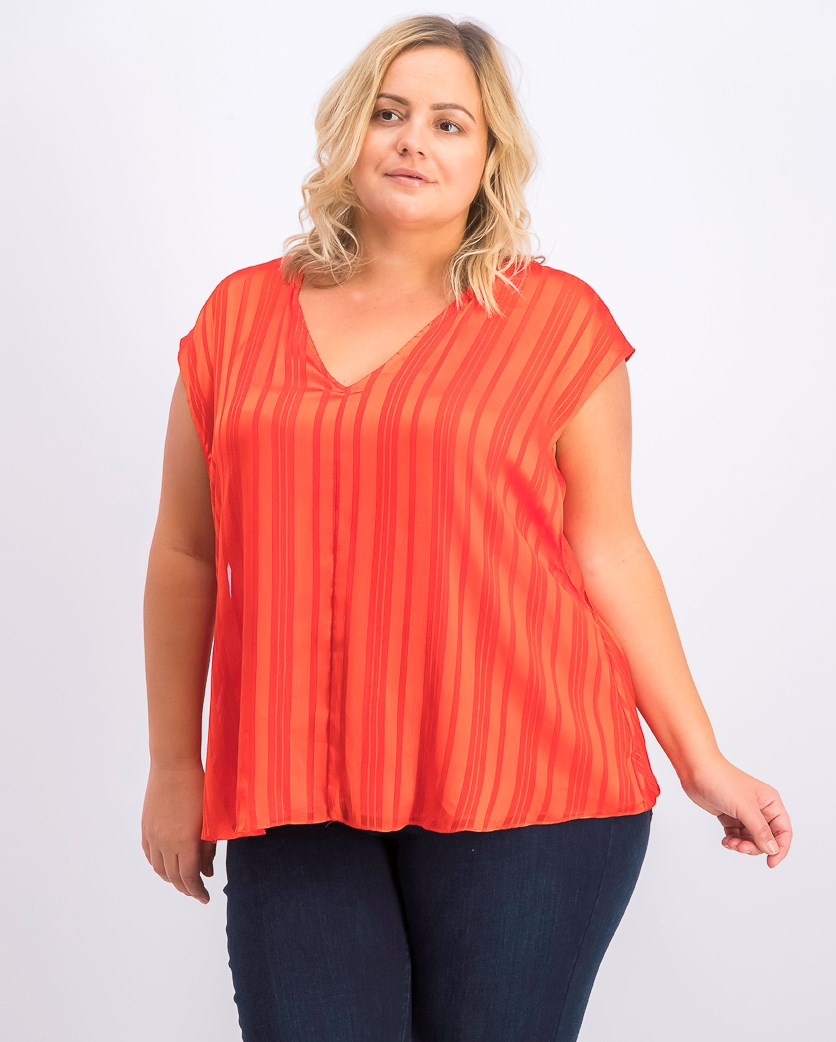 Women's Plus Size May Cap-Sleeve Blouse, Red