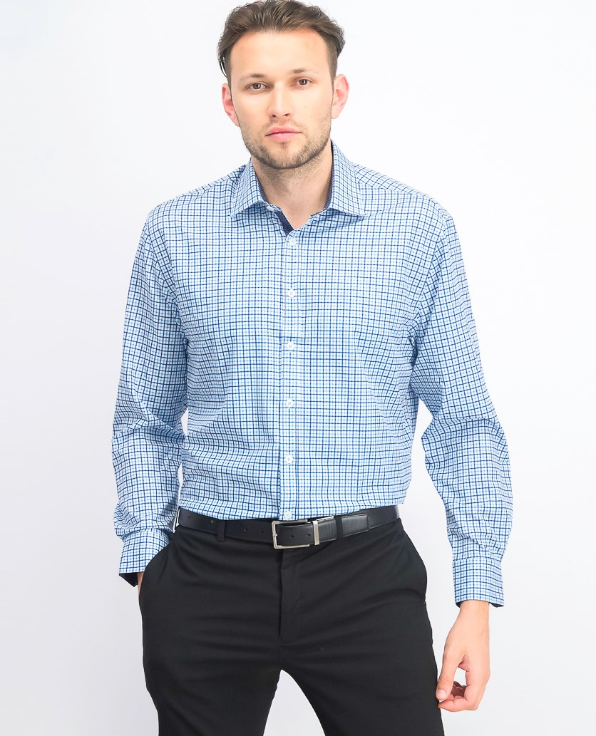 Men's Slim-Fit Performance Stretch Check Dress Shirt, Blue
