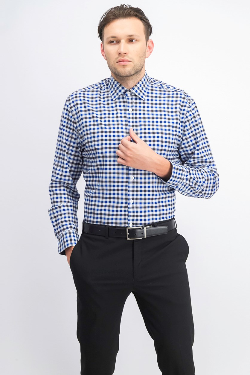 Men's Slim-Fit Performance Stretch Dress Shirt, Blue Gingham
