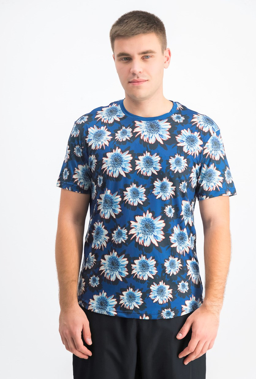 Men's Floral Short Sleeve Crew T-Shirt, Navy Blue
