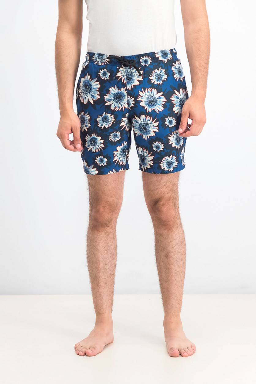 Men's Modern-Fit Floral Swim Trunks, Navy/Blue