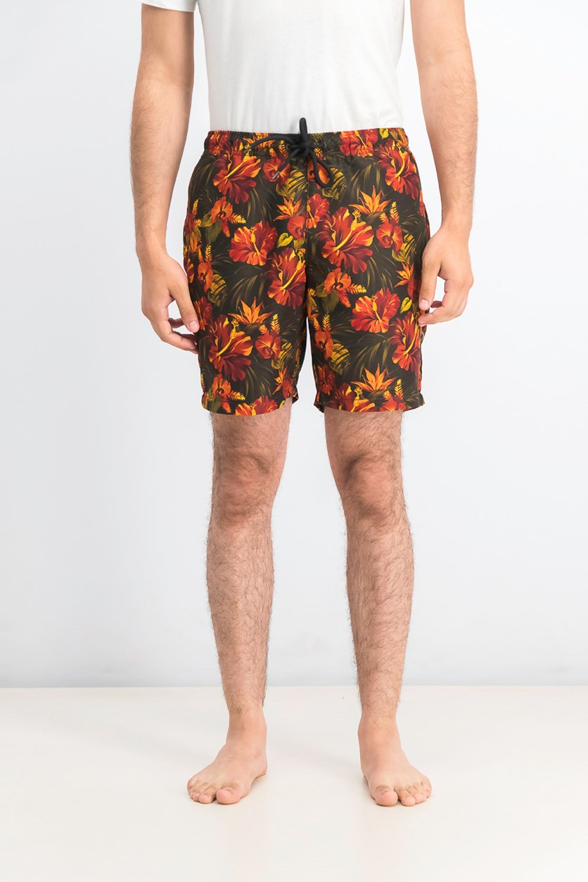 Men's Modern-Fit Multi Floral Swim Trunks, Black/Orange Combo