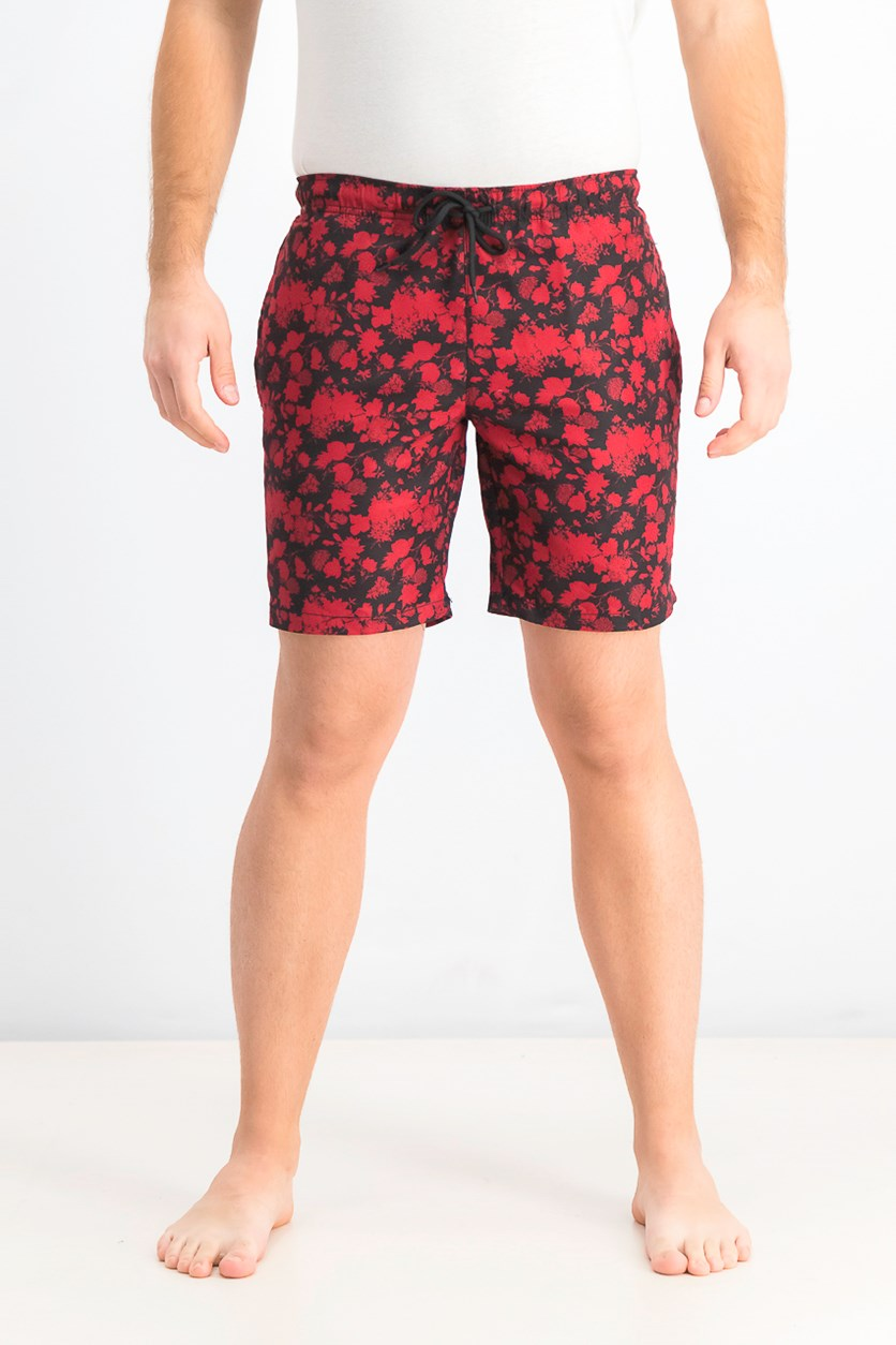 Men's Modern-Fit Floral Board Shorts, Claret
