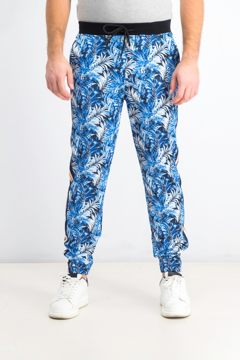 Men's Tapered Stretch Floral Track Pants, Blue