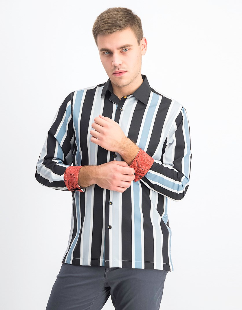 Men's Stripe Long Sleeve Camp Shirt, Black Combo