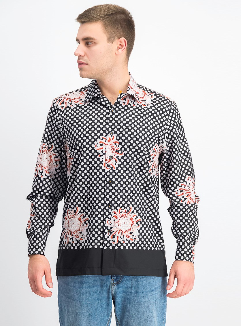 Men's Slim-Fit Performance Stretch Floral Dot Long Sleeve Shirt, Black Combo