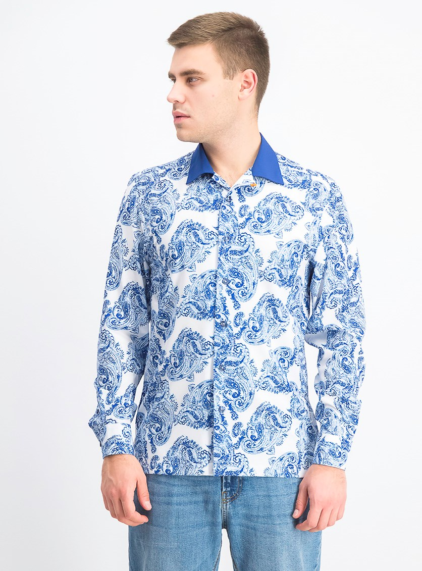 Men's Slim-Fit Paisley Shirt, White/Blue
