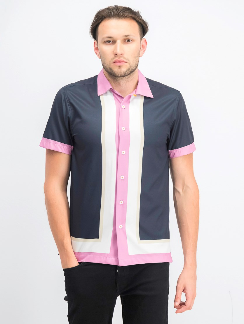 Men's Slim-Fit Performance Stretch Camp Shirt, Navy/Pink