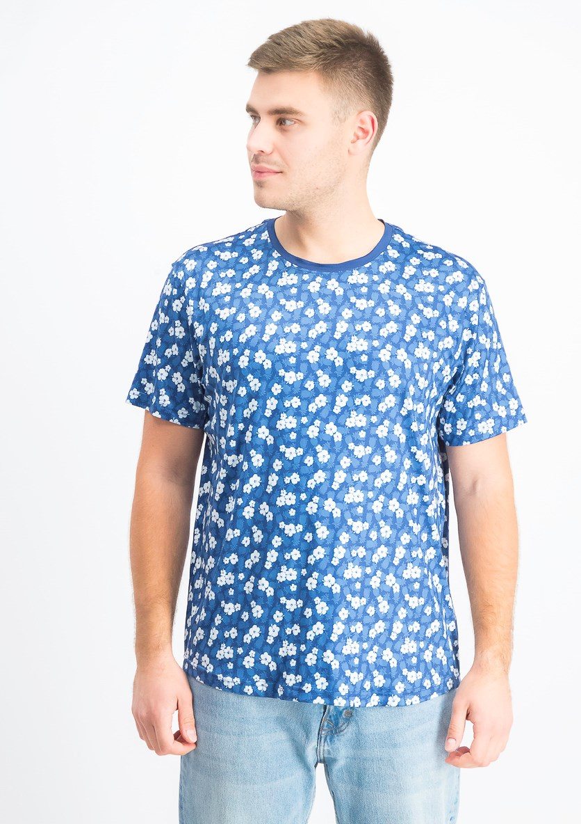 Men's Pineapple Floral Crew Neck T-Shirts, White/Navy
