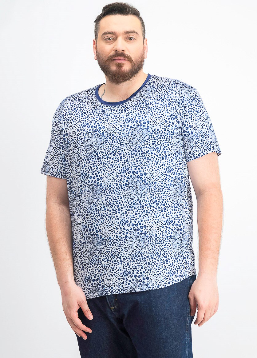 Men's Leopard Print Crew Neck T-Shirt, White/Blue