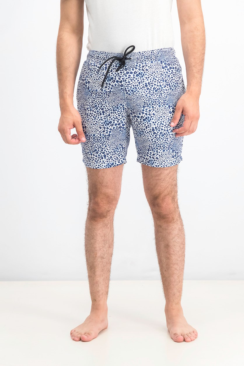 Men's Leopard Print Swim Trunks, White/Blue