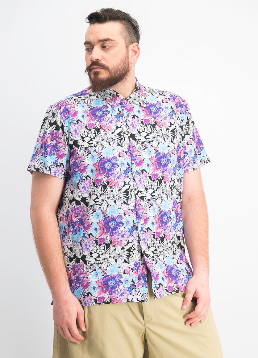 Men's Multi Floral Slim Fit Camp Shirt, Pink/purple