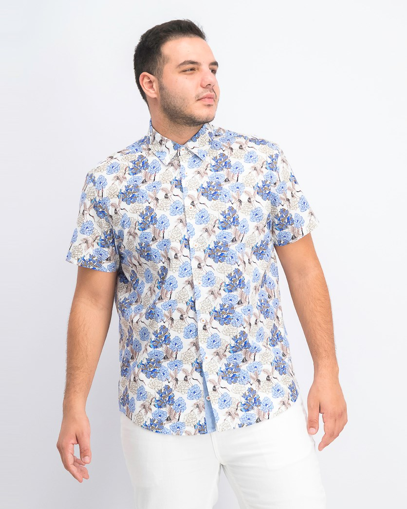 Men's Crane Floral Slim Fit Woven Shirt, White/Navy