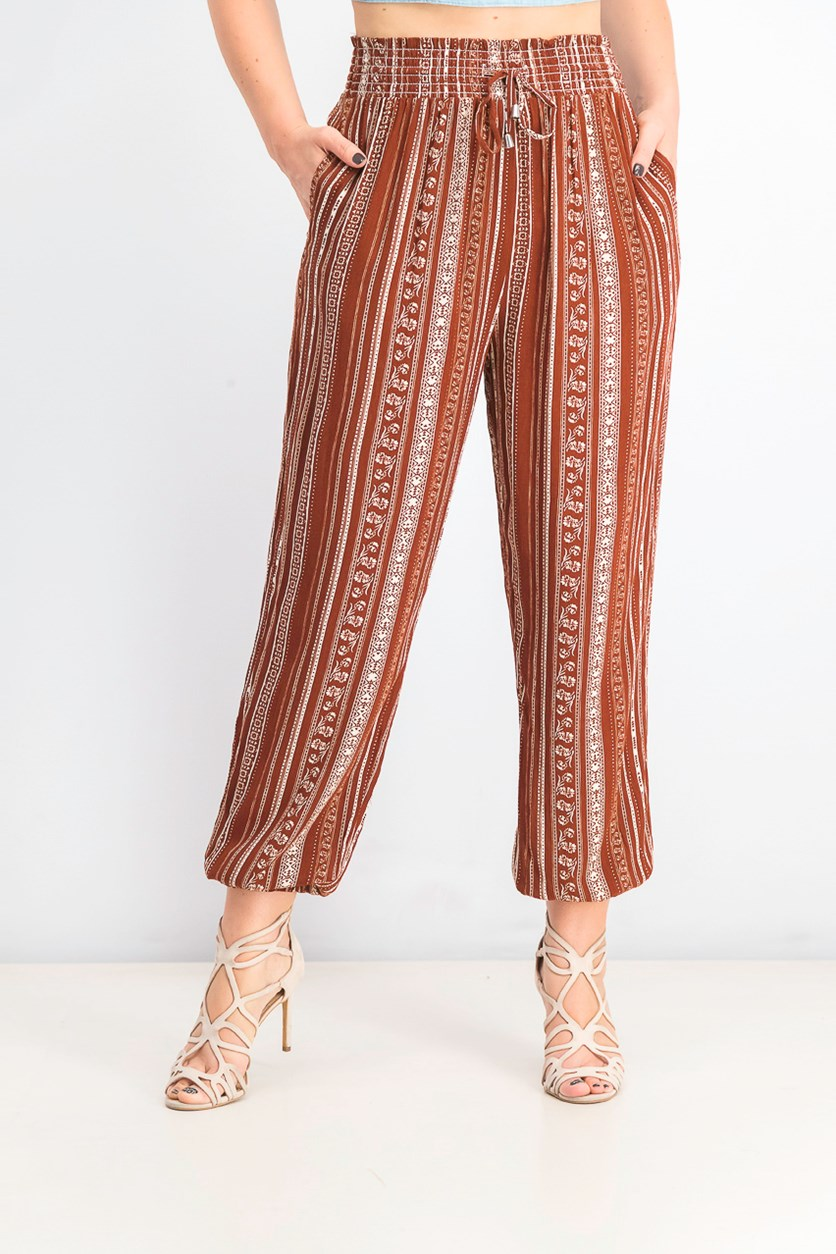 Juniors' Printed Jogger Pants, Smoked Paprika