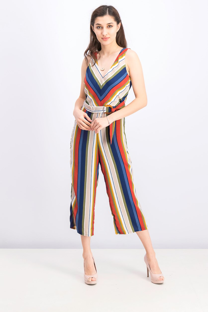 Women's Striped Gaucho Jumpsuit, Navy Combo