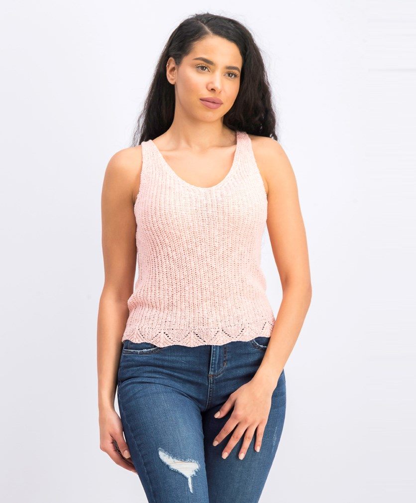Women's Sleeveless Open-Knit Top, Crystal Rose