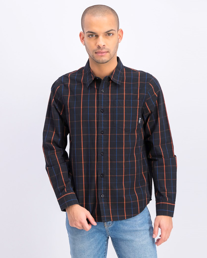 Men's Otero Plaid Shirt, Black Combo
