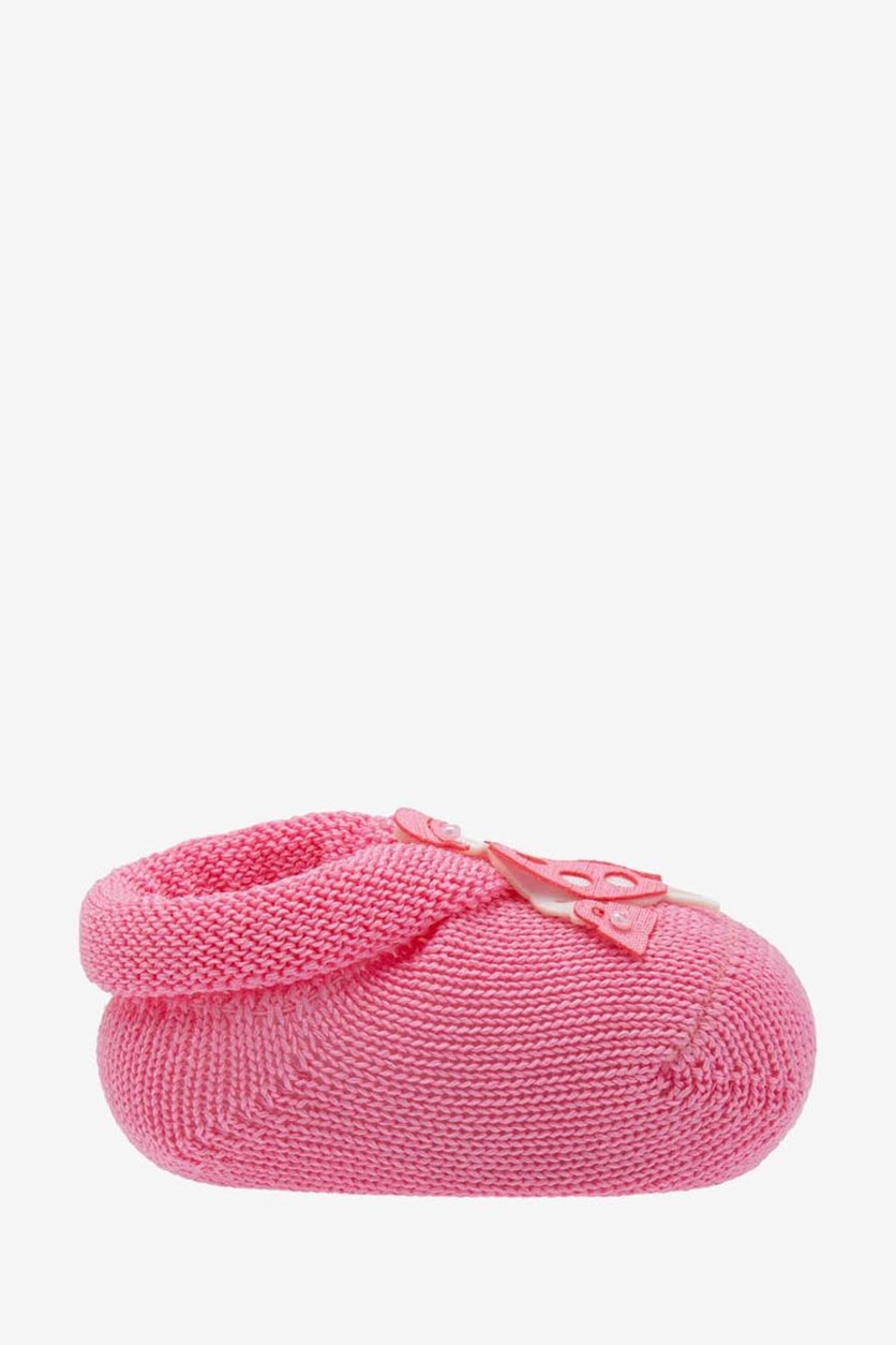 Baby Girl's Knit Crib Shoes, Pink