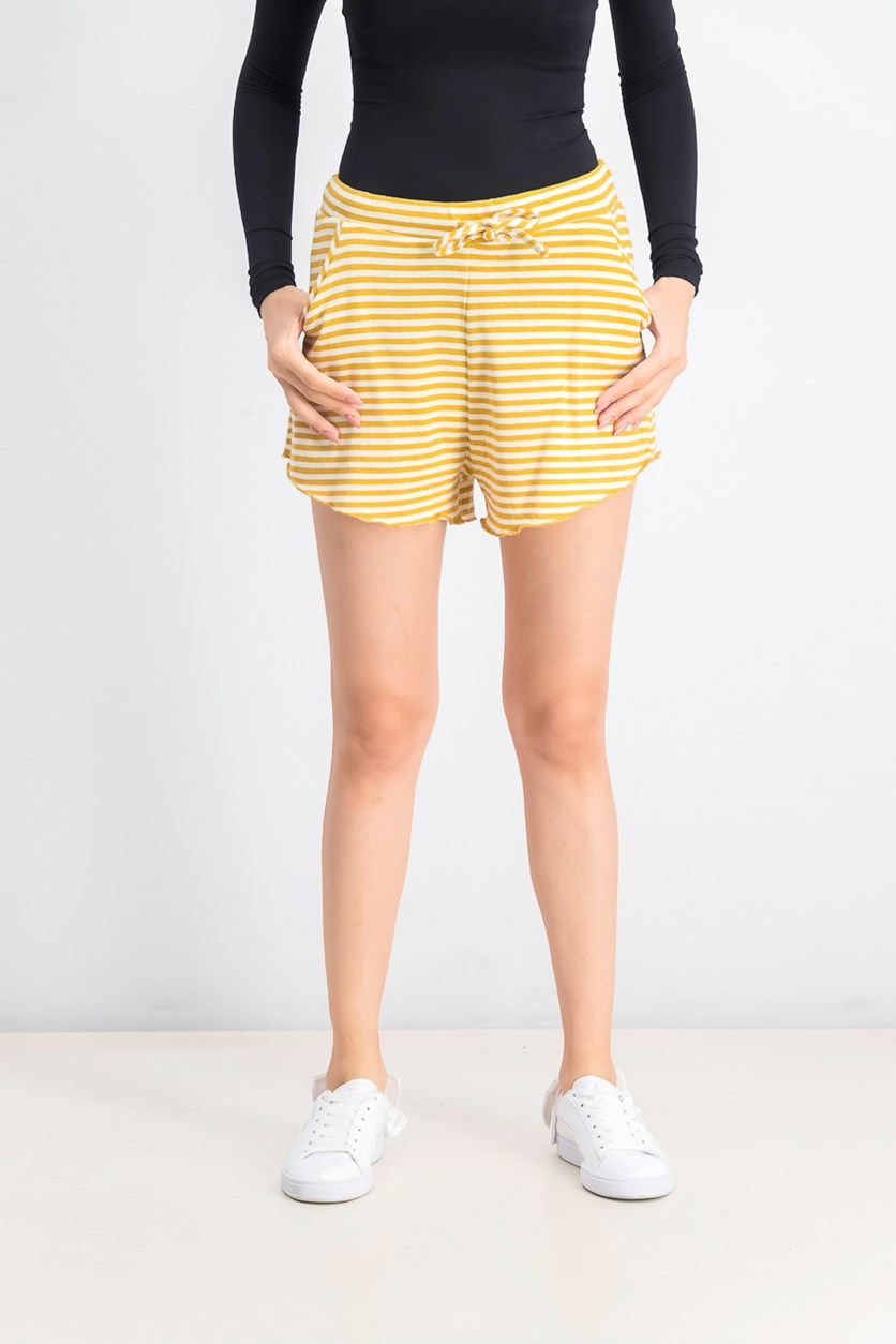 Women's Stripe Drawstring Shorts, Mustard